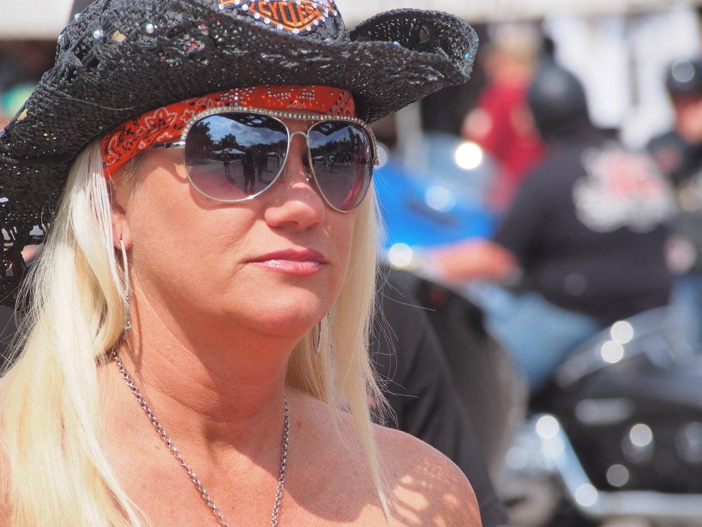 blonde cowgirl biker
