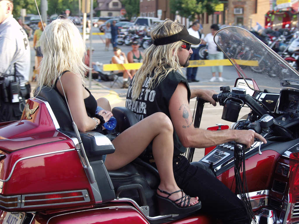 Long haired bikers