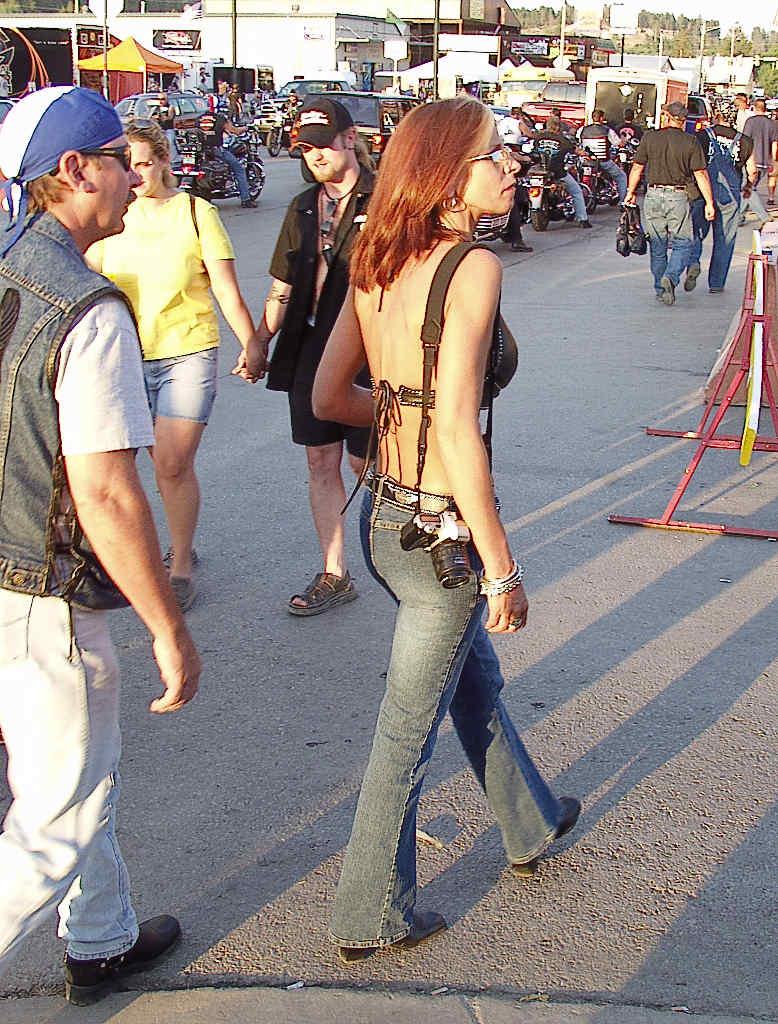 Hippie biker woman