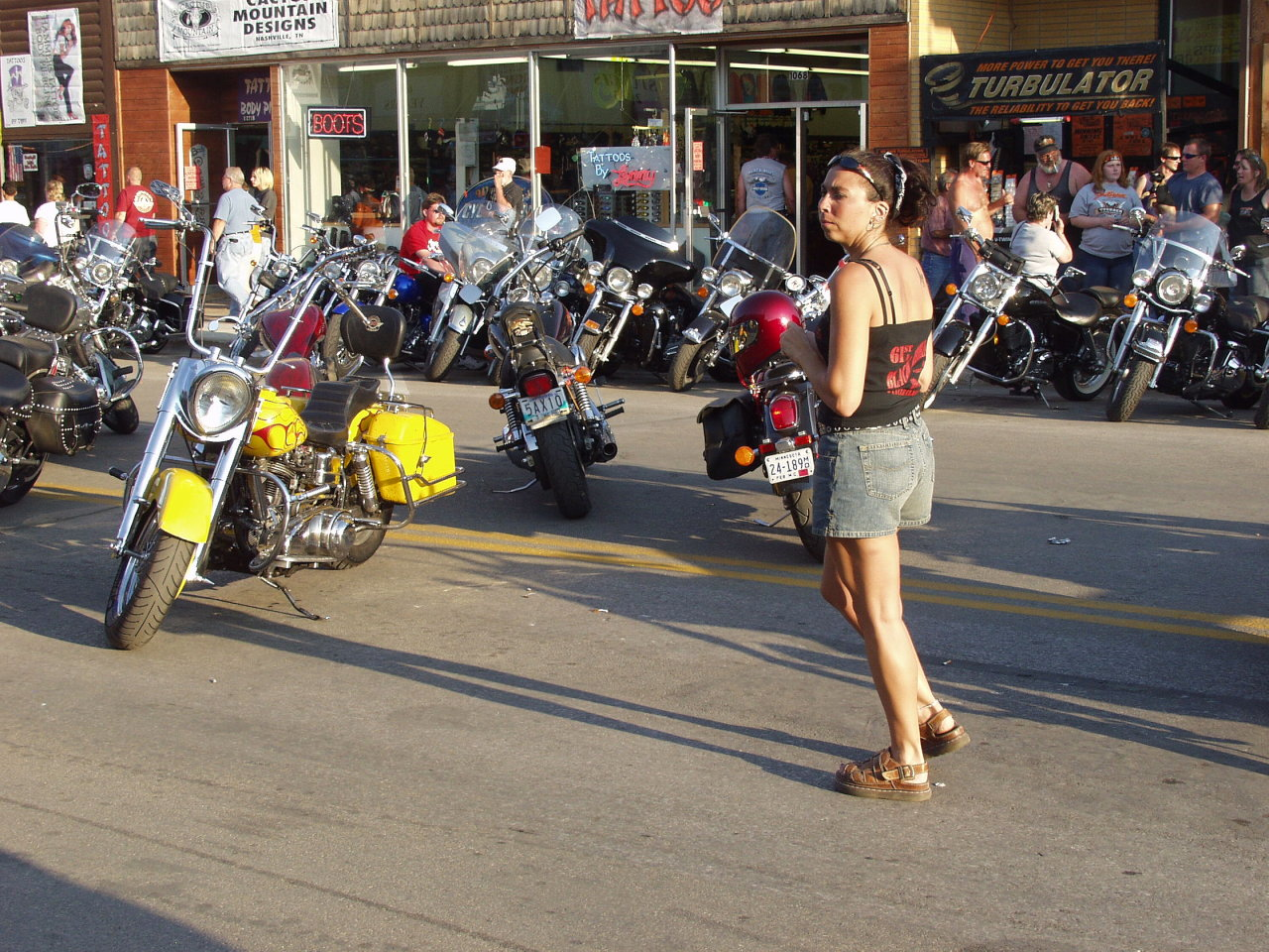 Woman at bike rally