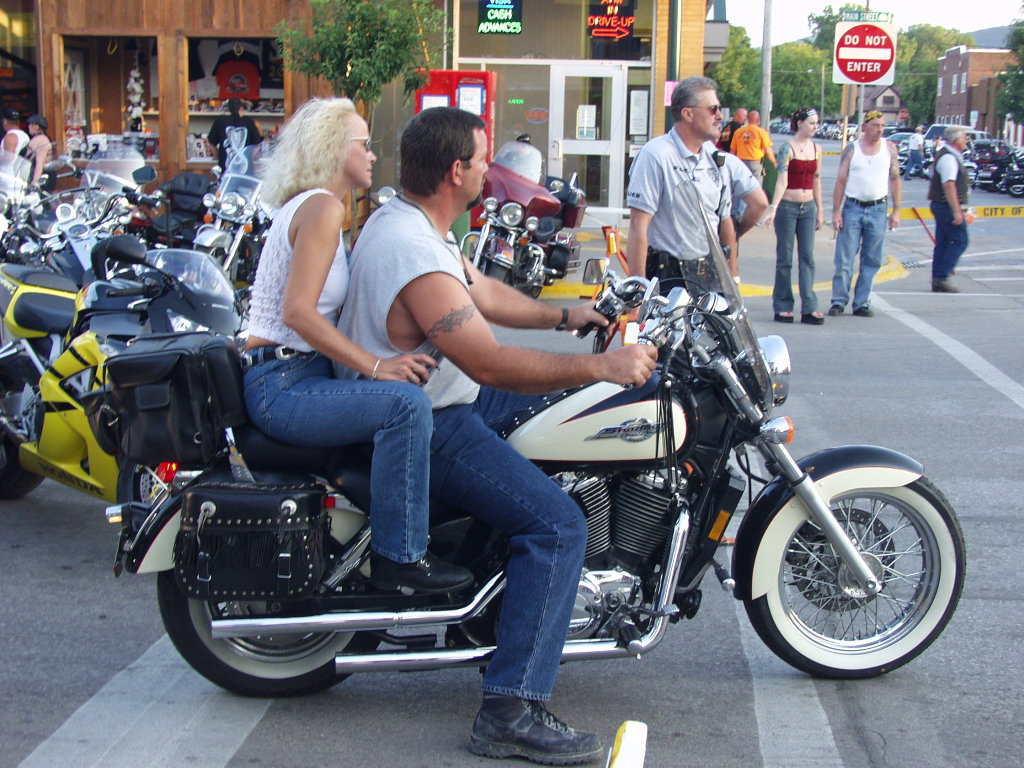 Blonde Motorcycle rider