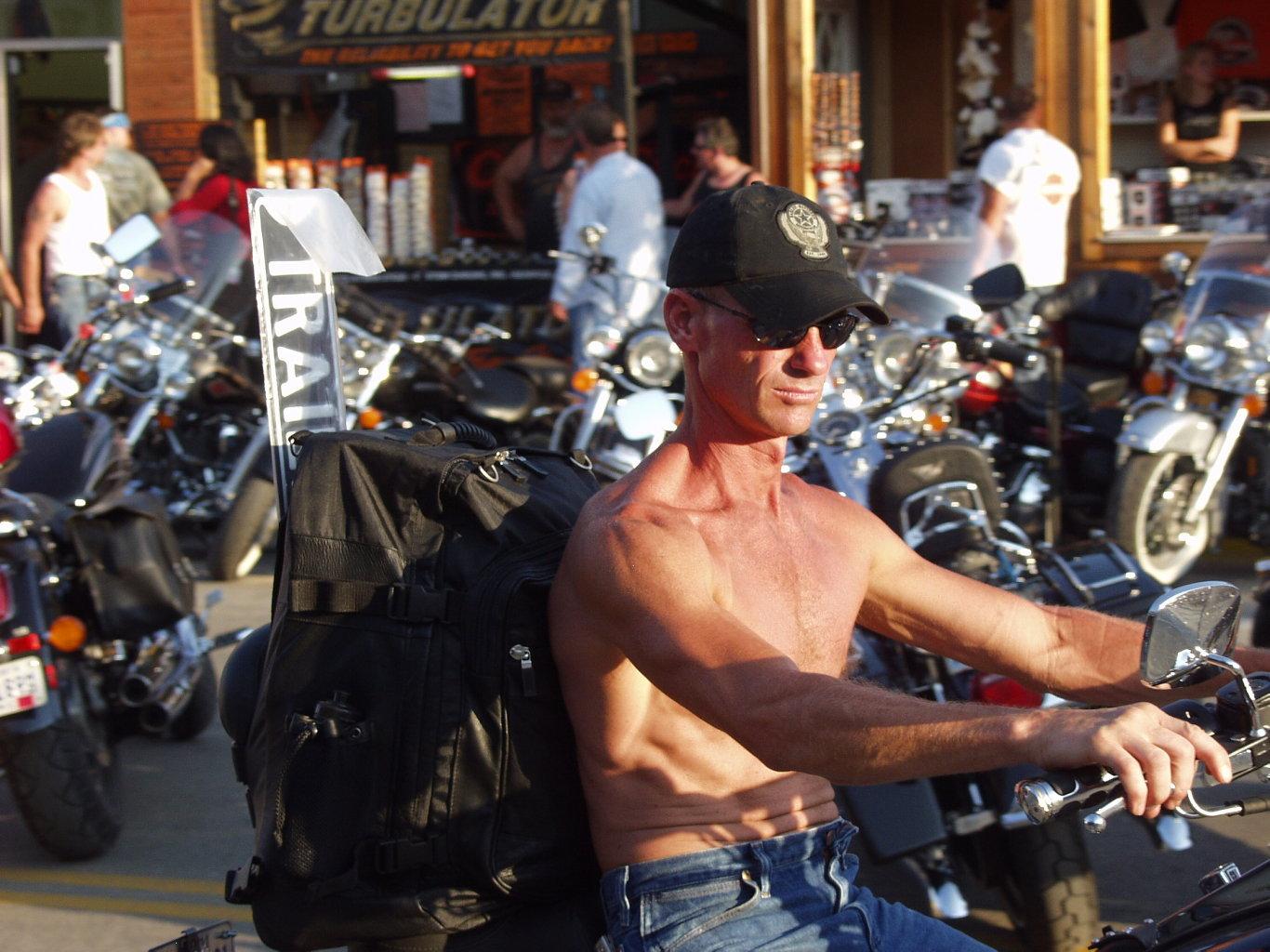 barechested biker