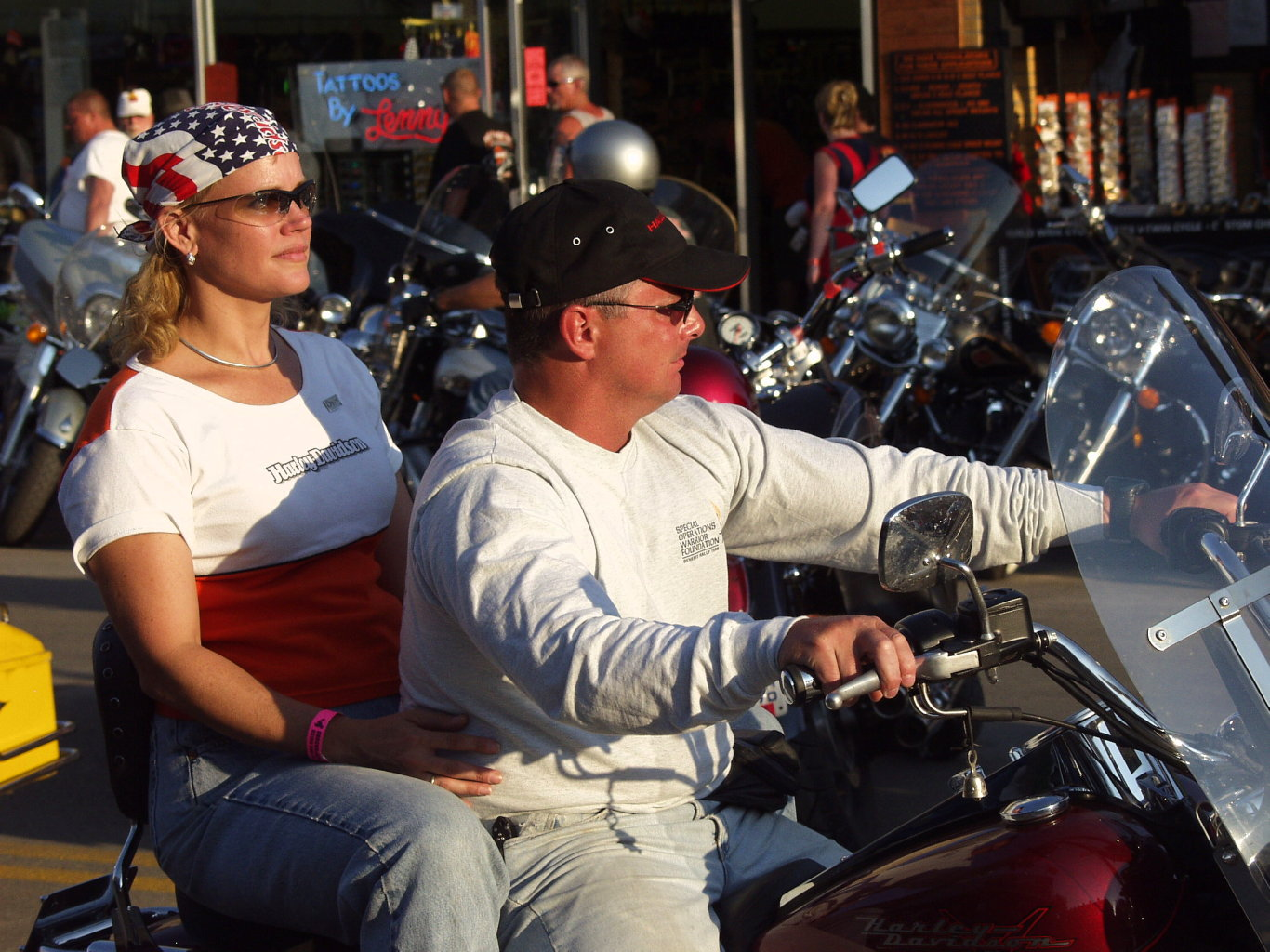white clad bikers