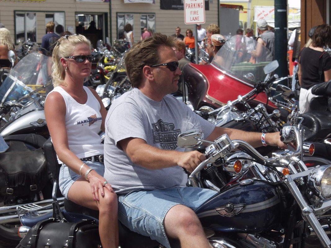 biker and blonde